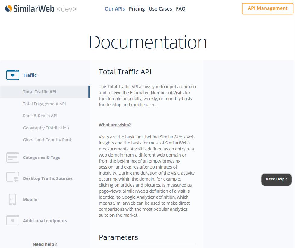 SimilarWeb Total Traffic API