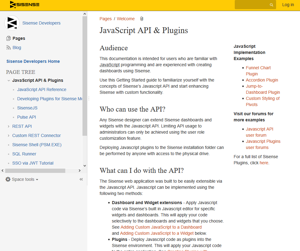 SiSense JavaScript API (Overview, Documentation