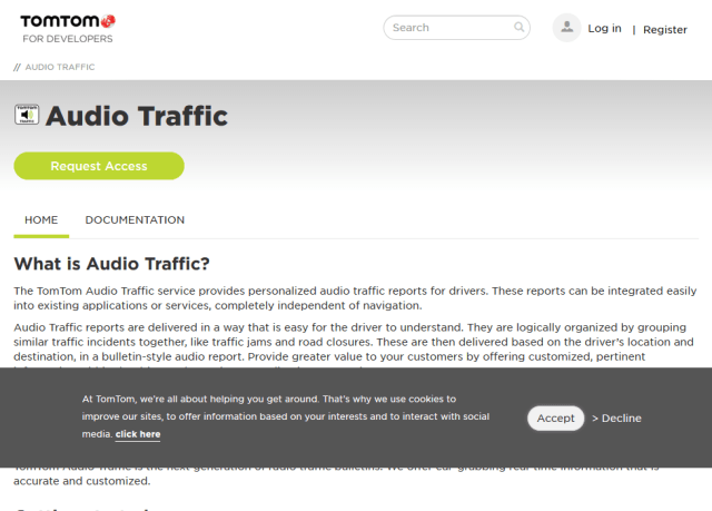 Tomtom Audio Traffic API