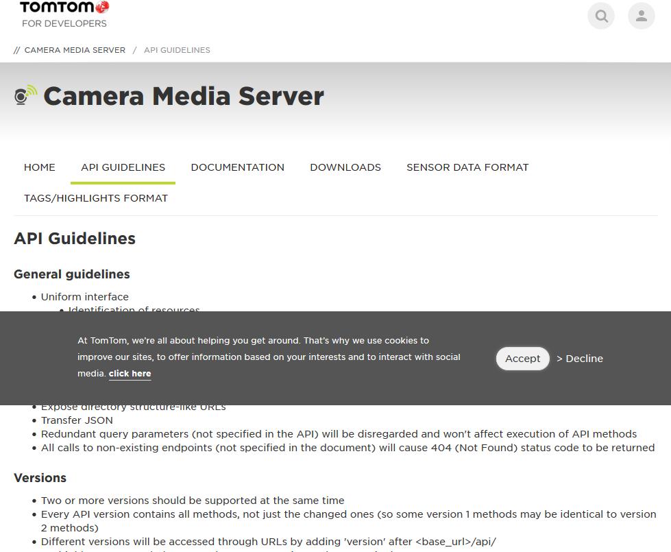 TomTom Camera Media Server API