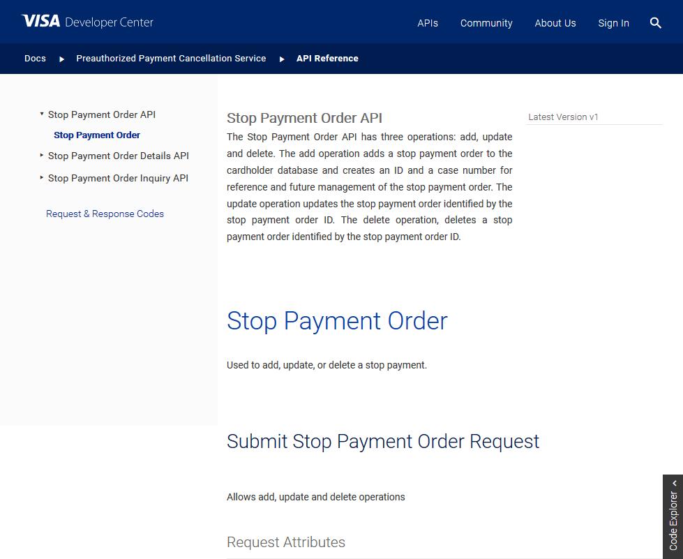 Visa Stop Payment Order API