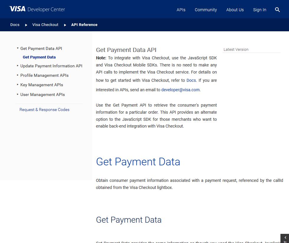 Visa Get Payment Data API