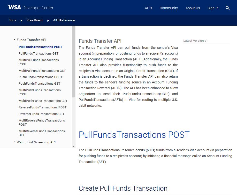 Visa Funds Transfer API
