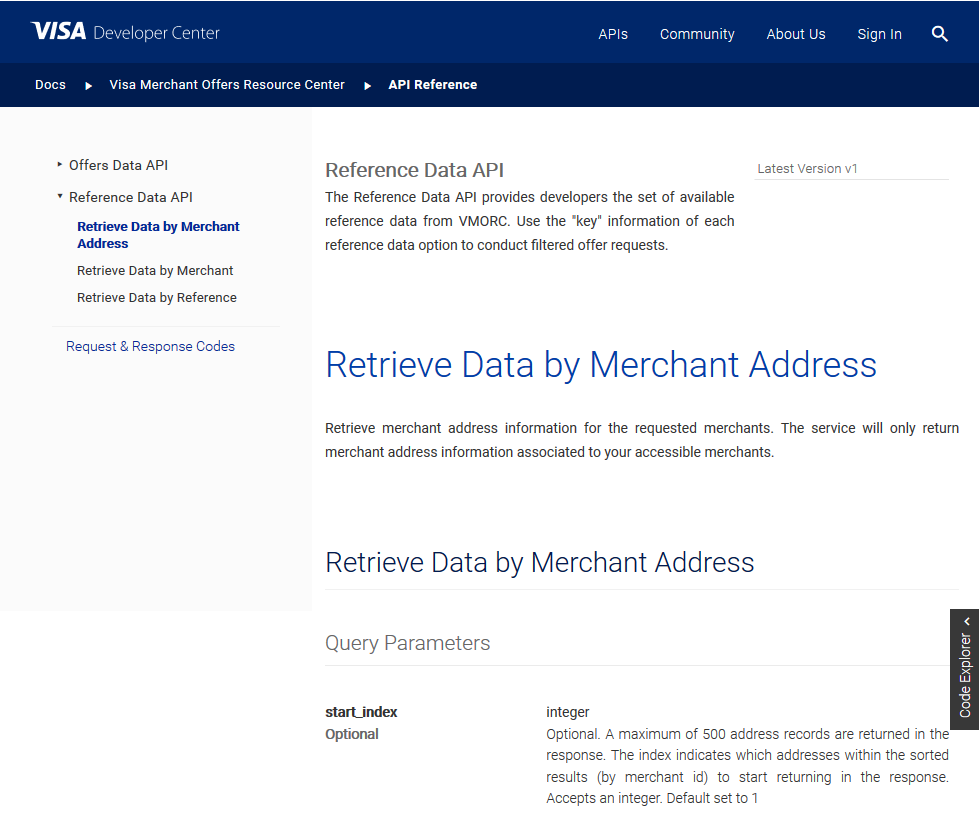 Visa Merchant Reference Data API