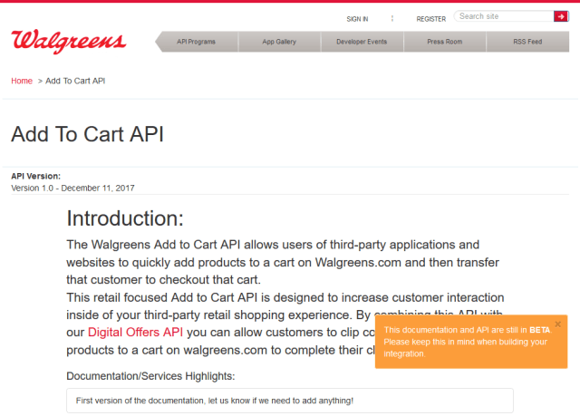 Walgreens Add To Cart API
