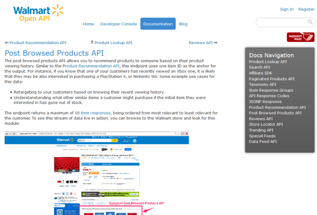 Walmart Post Browsed Products API