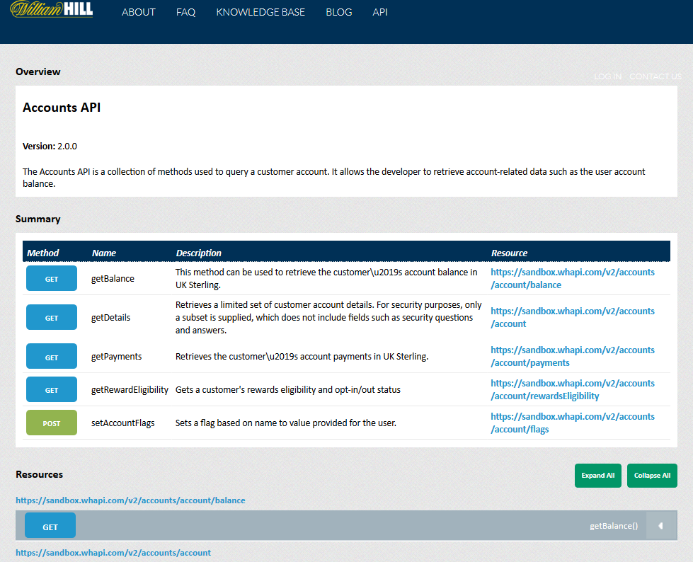 William Hill Accounts API