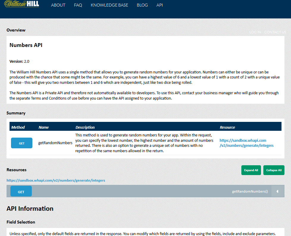 William Hill Numbers API