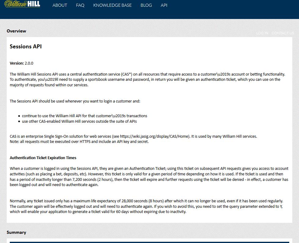 William Hill Sessions API