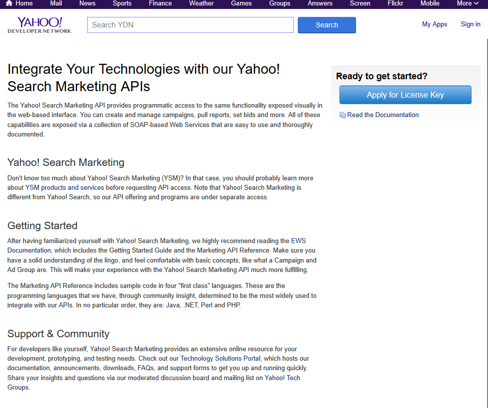 Yahoo Search Marketing Api Overview