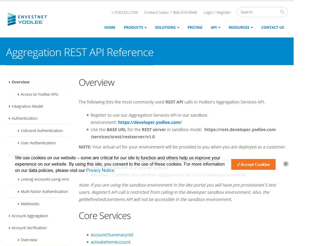 Yodlee Aggregation REST API