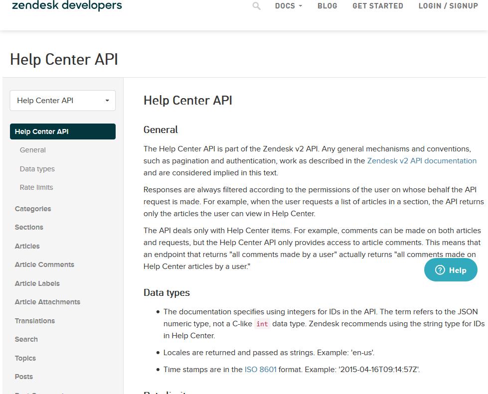 Zendesk Help Center API