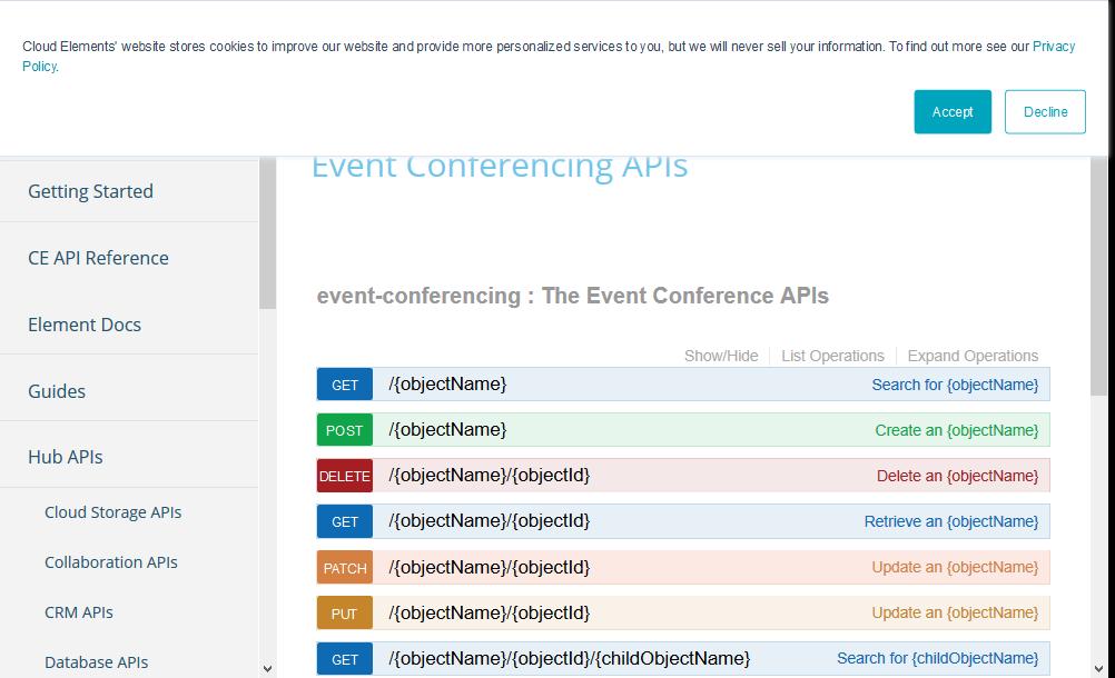 Cloud Elements Event Conferencing Hub API