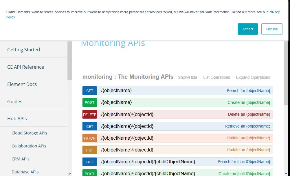 Cloud Elements Monitoring Hub API
