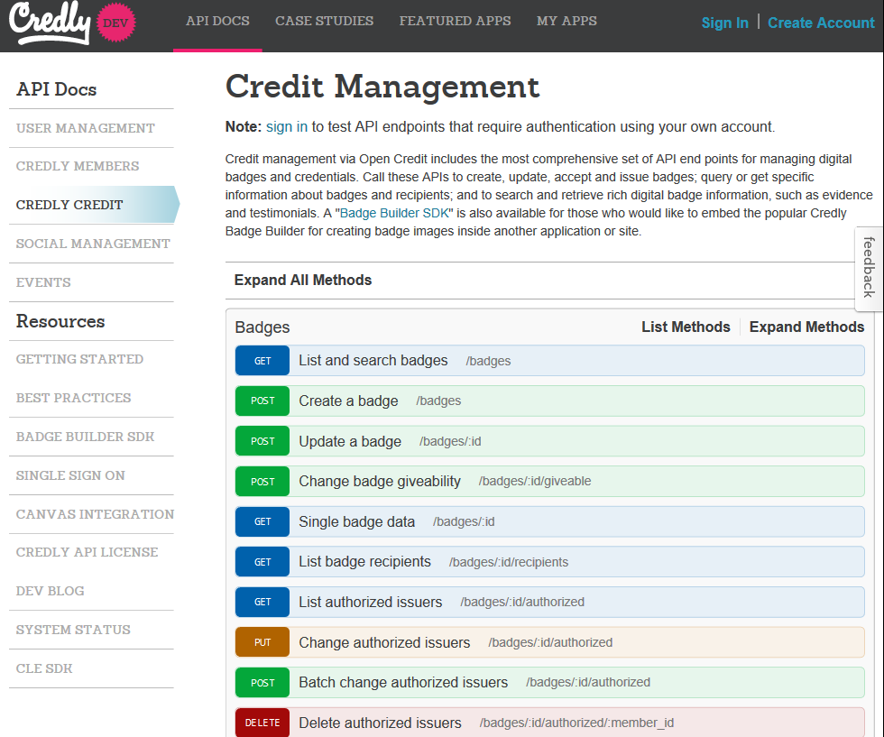 Credly Credit Management API