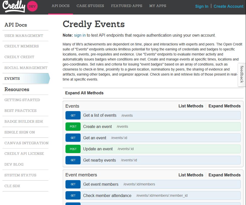 Credly Events API