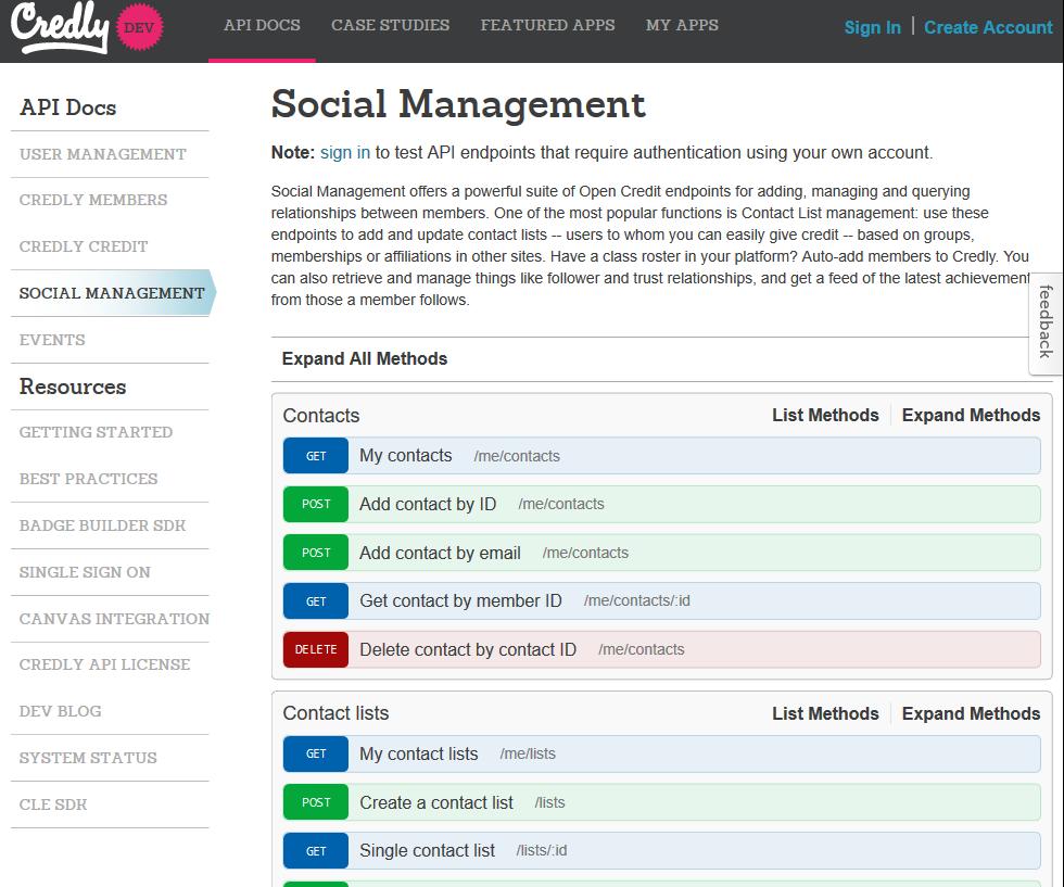 Credly Social Management API
