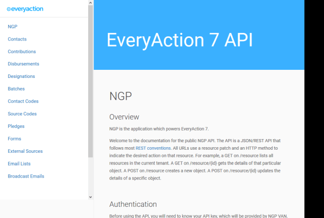 Everyaction 7 Ngp API