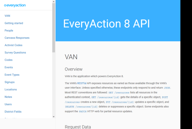 Everyaction 8 Van API