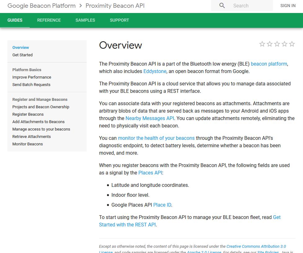 Google Proximity Beacon API