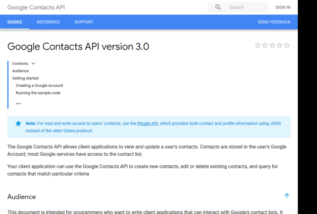 Google Contacts API