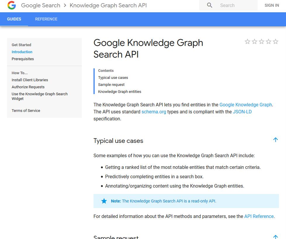 Google Knowledge Graph Search API