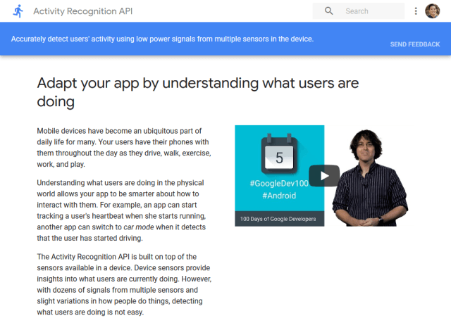 Google Activity Recognition API (Overview, Documentation