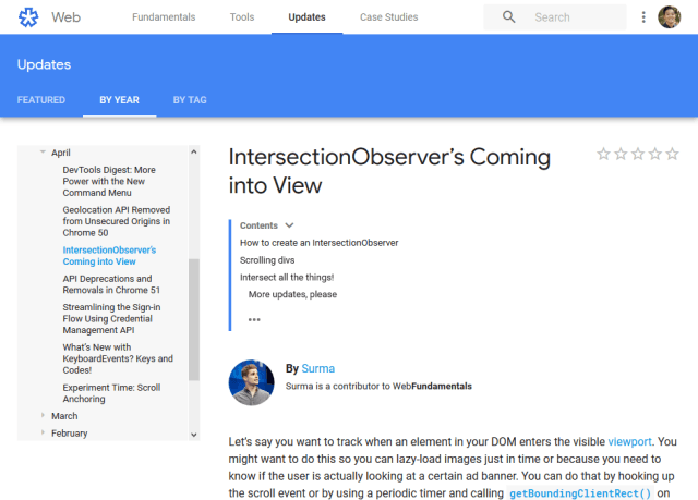 Chrome Intersection Observers API