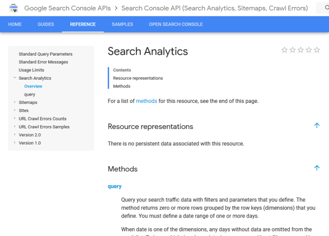 Google Search Analytics API (Overview, Documentation