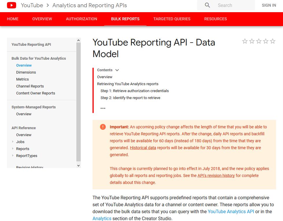 YouTube Reporting API