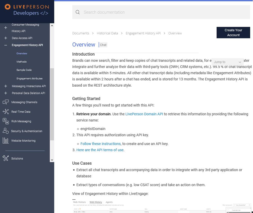 LivePerson Engagement History API