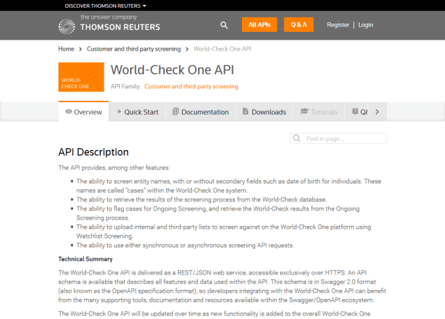 Thomson Reuters World Check One API