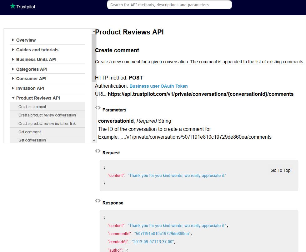 TrustPilot Product Reviews API