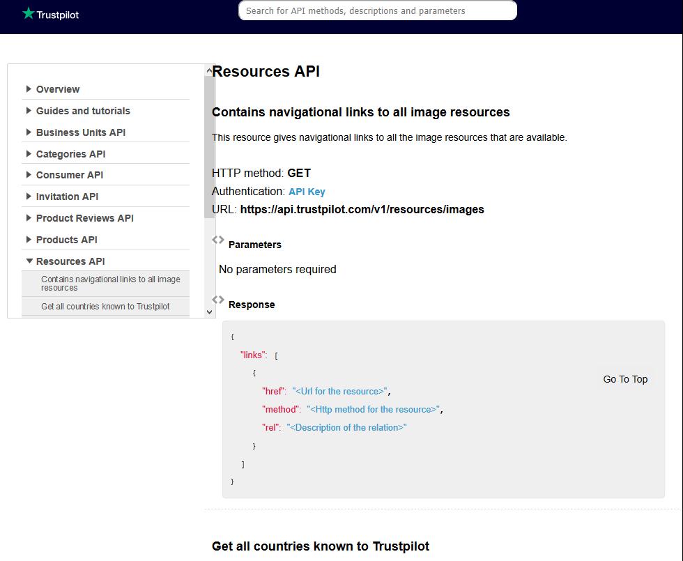 TrustPilot Resources API
