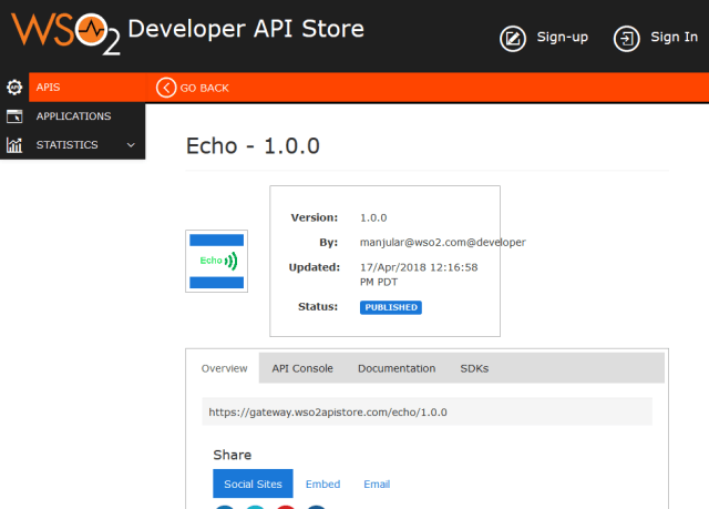 Wso2 Api Cloud Echo API