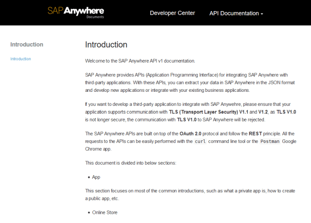 Sap Anywhere API