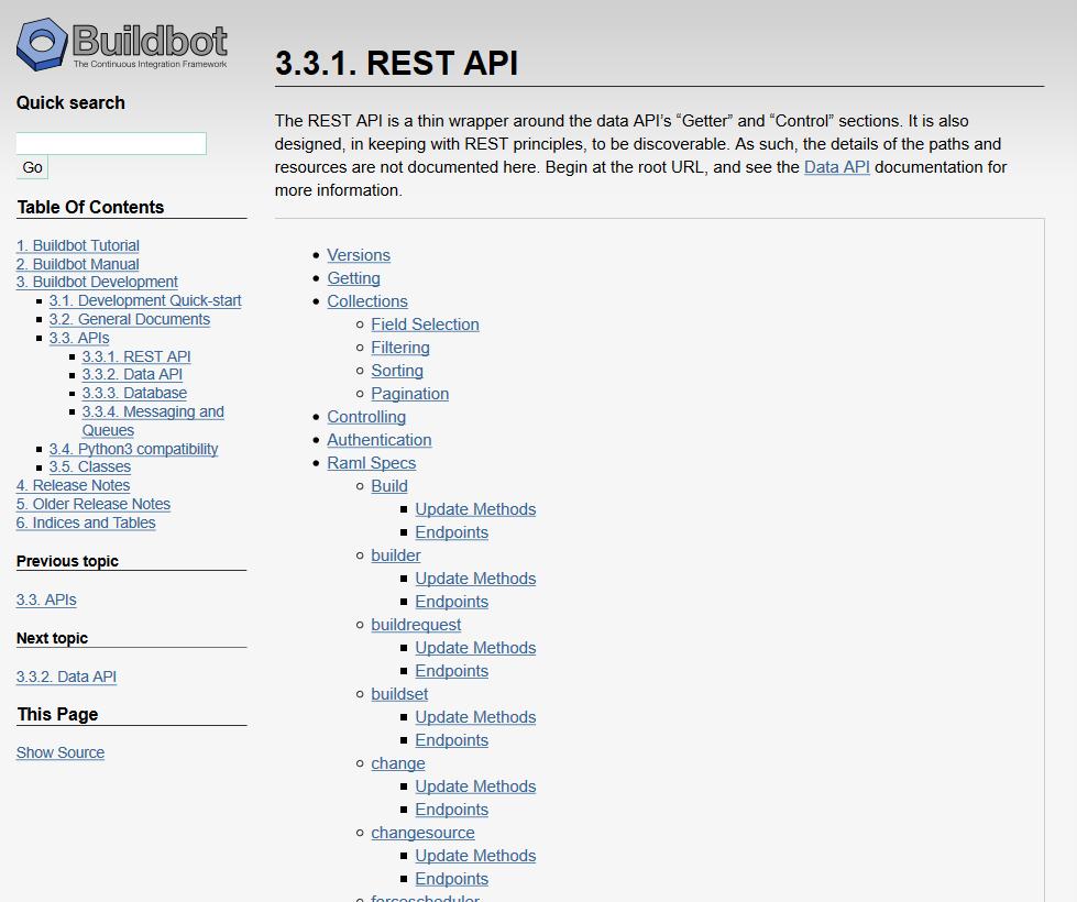 exana.io Buildbot REST API