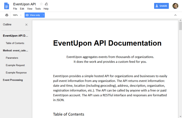 Eventupon API