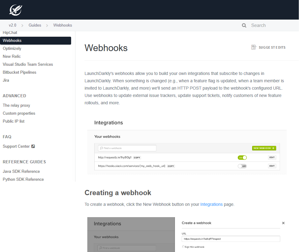 LaunchDarkly Webhooks API
