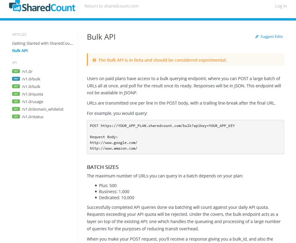 SharedCount Bulk API