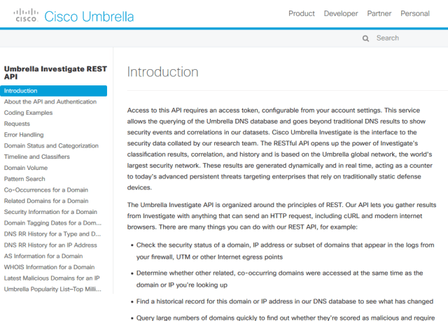 Cisco Umbrella API