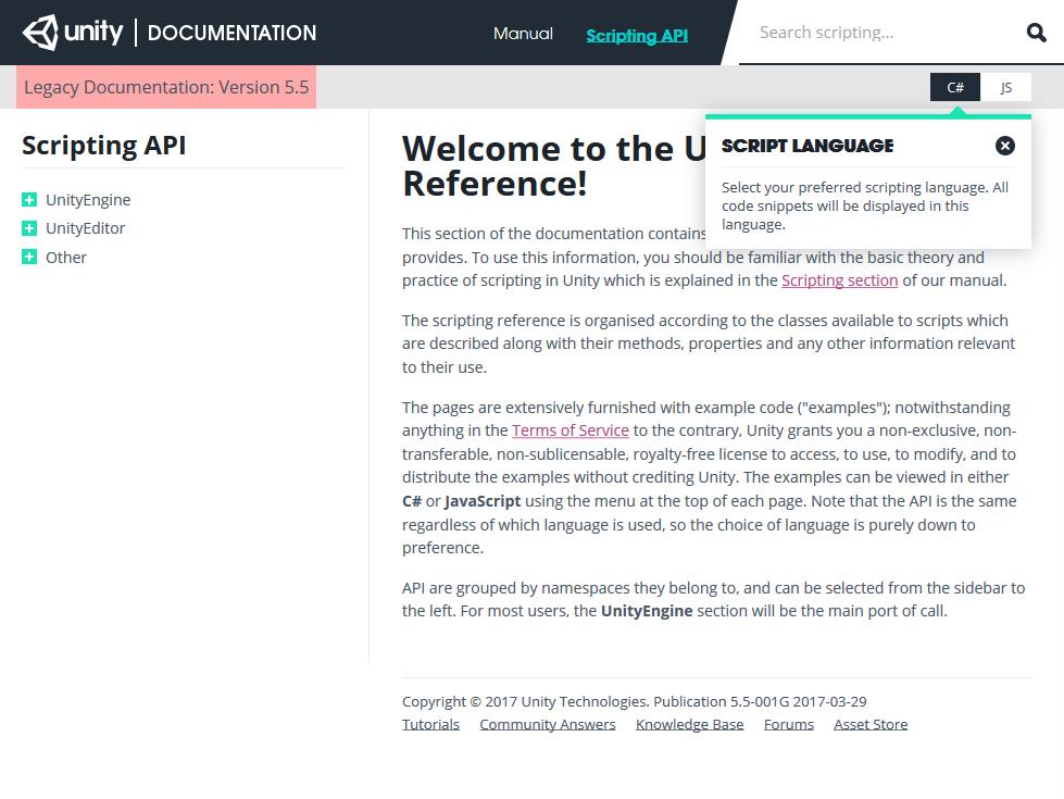 Unity Scripting API