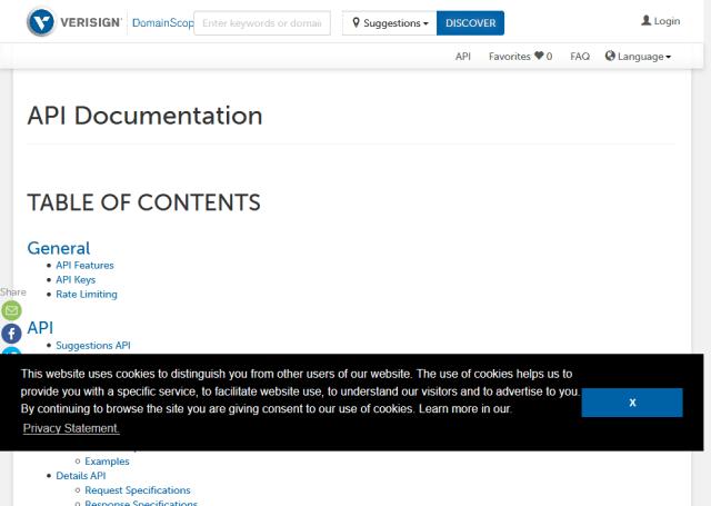 Verisign Domainscope API