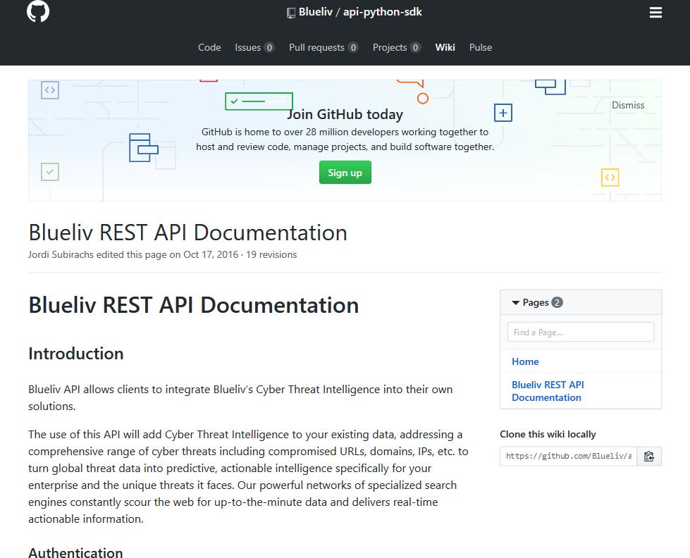 Blueliv API