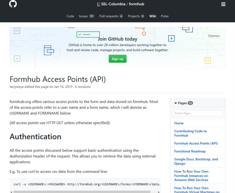Formhub API