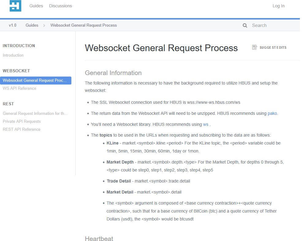HBUS Websocket API