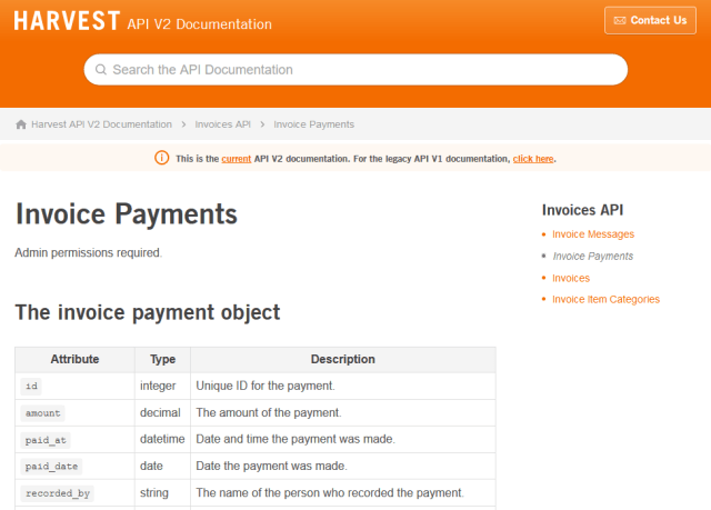 Harvest Invoice Payments API