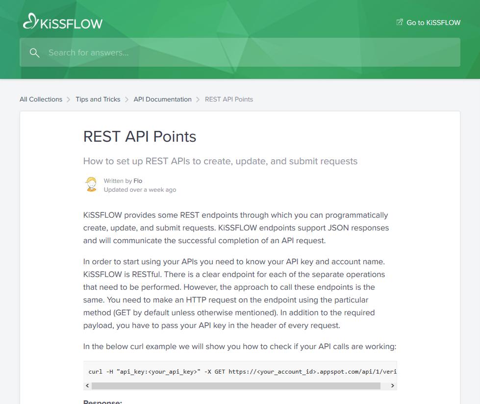 KiSSFLOW API