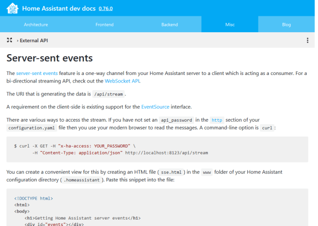 Home Assistant Serversent Events Streaming API