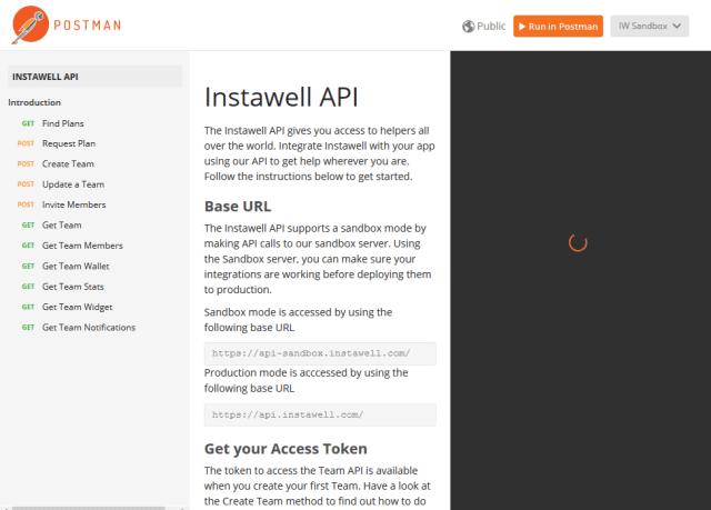 Instawell API